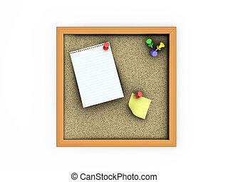 Notice board - 3D render of a notice board