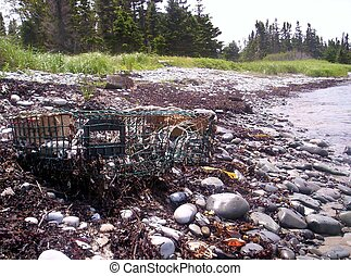 old lobster trap on beach - old lobster trap washed up on...