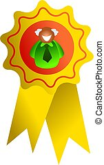 rosette man - a man inside the rosette award - icon people...