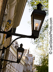 street lamps - ancient street lights in amsterdam