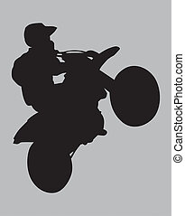 Dirt Bike Wheelie - Dirt biker silhouette performing a...
