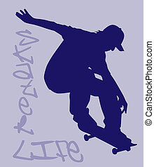 Skater Life - Skater silhouette ollieing sick style Clipping...