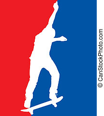 Patriotic Skater - Skater silhouette performing a switch 180...