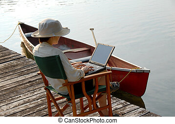 Working - businesswoman with laptop