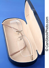 eyeglasses and case - corrective eyeglasses inside case