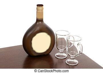 Irish Creme Bottle and Two Empty Glasses - Bottle of Irish...