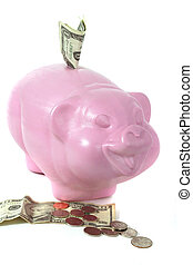 Piggy Bank 2 - Piggy Bank with dollars and coins around it