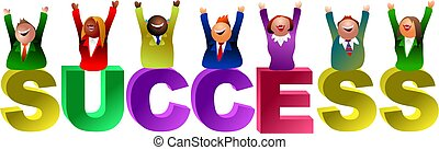 success word - successful business team - icon people series
