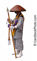 Buddhist pilgrim - Traditional Japanese Buddhist pilgrim...