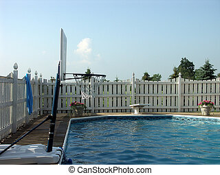 Beat the heat - Basketball hoop and diving board of an...