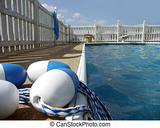 Floats - Rope and bouys for an inground pool. Focus on...
