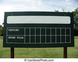 Blank scoreboard at a little league field. Name of home team...