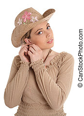 ear-ring - pretty woman in straw hat