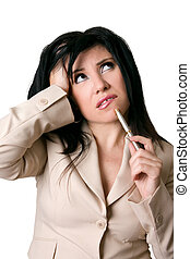 Business dilemma - A woman with an overwhelmed, worried or...