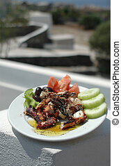 grilled octopus - freshly grilled octopus with scenic...