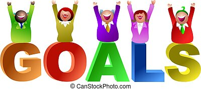 goals word - joy in achieving goals - icon people series