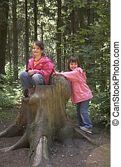 twins playing on a tree stump - girls playing on a tree...