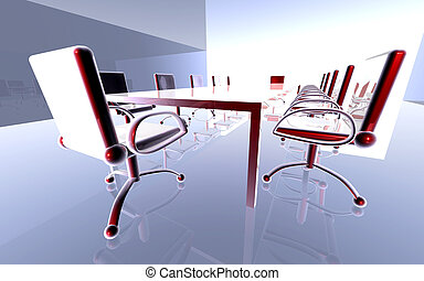 Futuristic Office 1 - 3D rendered, surreal Boardroom.