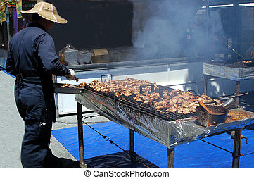 Barbeque Chicken - Barbeque chicken at an outdoor festival