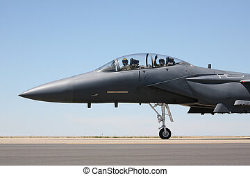 F-15 taxi cockpit view - F-15 Strike Eagle taxiing to...