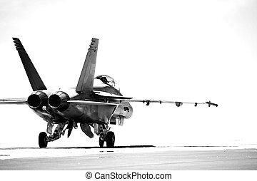 F18, taxiing, bw