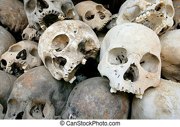 Pile of Skulls - A pile of skulls from the Killing Fields in...