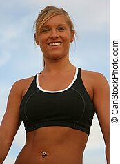Physically Fit Woman - Physically fit woman with sky...