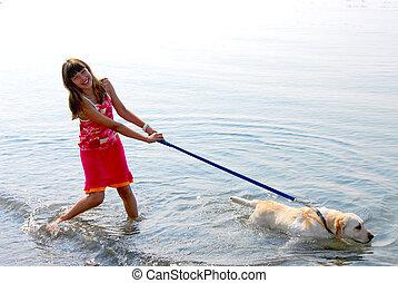 menina, tocando, cão
