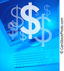 Dollar Team Works - Dollar symbol on Personal Computer...