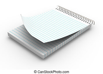 Blank notepad - 3D render of a lined notepad