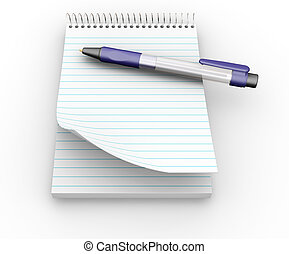 Notepad and pen - 3D render of notepad and pen