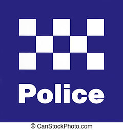 Police Station Sign - White On Blue