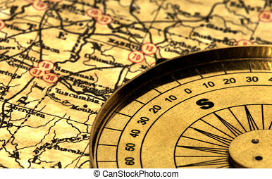 Vintage Map and Compass With Blur Effect