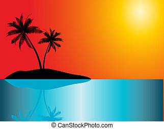 Tropical island - Palm trees on a tropical island