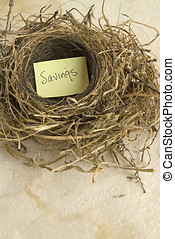 savings - empty nest with a sign that says, Savings