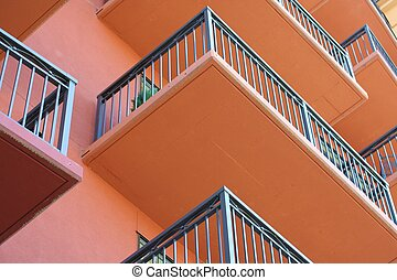 Horizontal Balconies - looking up at tightly packed...