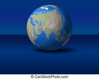 World Globe on blue graphic background Asia, India,...