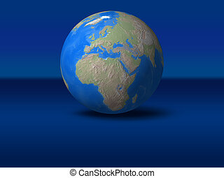 World Globe on blue graphic background Europe, view