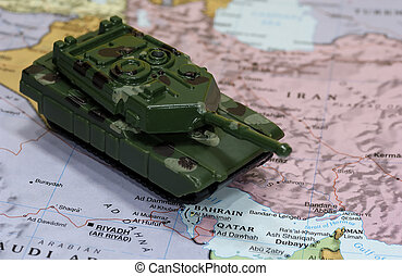 War on Terror - Map of Middle East and Toy Tank - Fight...