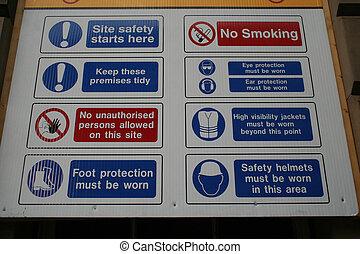 construção, segurança, local, sinal