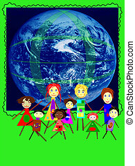 we love clean atmosphere - Group of kids on a planet earth...