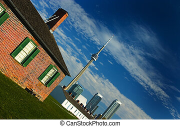Fort and Tower - View from Old Fort York on Toronto Downtown...