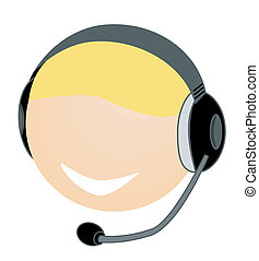 Customer Service - Head with headset illustration