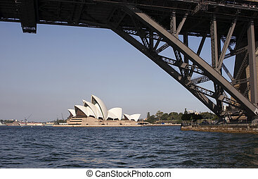 Bridge Pylon - Sydney Harbour Bridge and pylon with Opera...