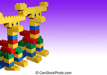 Double Moose 1c - Childs Creation, Moose in Purple...