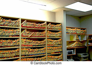 Doctor office - Medical files with patient information in...
