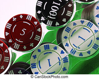 Double Chips - Gambling chips double racked.