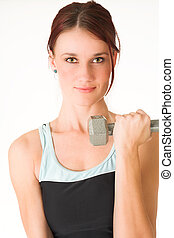 Gym 40 - A woman in gym clothes, training with weights