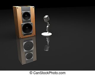 Mike and speaker - 3D render of retro microphone and speaker