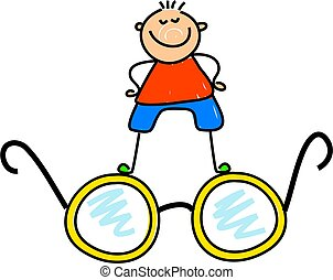 spectacle kid - little boy standing on spectacles - toddler...